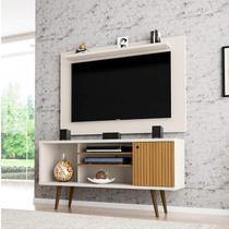 Rack com Painel para TVs até 50 Polegadas Safira Kenzo Móveis Bechara Off White/Cinamomo/Ripado -