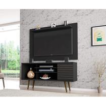 Rack com Painel para TVs até 50 Polegadas Safira Kenzo Móveis Bechara Preto Fosco -