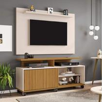 Rack com Painel para TVs até 50 Polegadas Topázio Kenzo Móveis Bechara Cinamomo/Off White/Ripado -