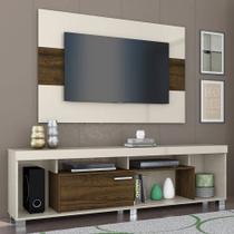 Rack com Painel TV 1 Porta Tomaz Off White/Savana Madetec -