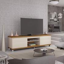 Rack com Rodízios para TVs até 72 Polegadas Mirage Germai Off White/Freijó - Móveis  Germai