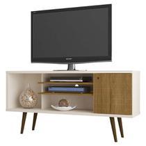 rack de tv para sala de estar cor off white com pé palito - Bechara