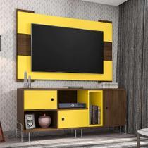Rack Dinamarca com Painel para TV até 55 Polegadas Viena Cedro e Amarelo 136 cm - Móveis leão