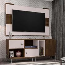 Rack Dinamarca com Painel para TV até 55 Polegadas Viena Cedro e Nude 136 cm - Móveis leão