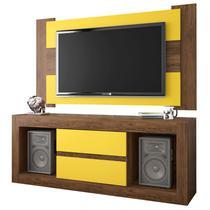 Rack Dublin com Painel Para TV até 55 Polegadas Viena Cedro/Amarelo - Móveis Leão -