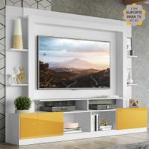 "Rack Estante c/ Painel e Suporte TV 65"" e 2 portas Oslo Multimóveis Branco/Amarelo -"