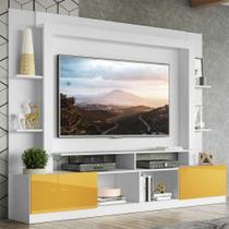 """Rack Estante c/ Painel TV 65"""" e 2 portas Oslo Multimóveis Branco/Amarelo -"""