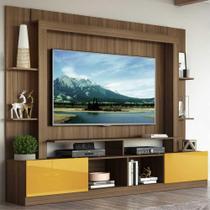 """Rack Estante c/ Painel TV 65"""" e 2 portas Oslo Multimóveis Madeirado/Amarelo -"""