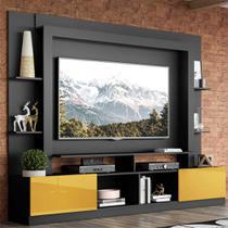 """Rack Estante c/ Painel TV 65"""" e 2 portas Oslo Multimóveis Preto/Amarelo -"""
