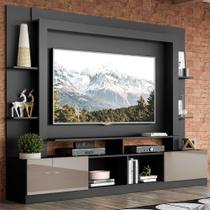 "Rack Estante c/ Painel TV 65"" e 2 portas Oslo Multimóveis Preto/Lacca Fumê -"