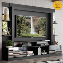 """Rack Estante c/ Painel TV 65"""" e Espelho Oslo Multimóveis Preto/Lacca Fumê -"""