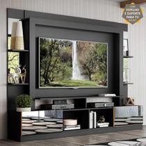 """Rack Estante c/ Suporte TV 65"""" e Espelho Oslo Multimóveis Preto/Amarelo -"""