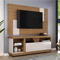 Rack Ilhabela com Painel para TV até 55 Polegadas 1 Porta Basculante Delfos Colibri Móveis Natural Real/Off White -