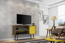 Rack Jade p/ Tv até 42 pol Madeira com Amarelo - Moveis bechara