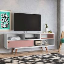 Rack Lyon Branco e Rosé 162 cm - Olivar Móveis
