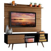 Rack Madesa Cairo e Painel para Tv Até 65 Polegadas com Pés de Madeira - Preto/Rustic/Rustic - Madesa Móveis -