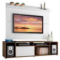 Rack Madesa Cancun e Painel para Tv Até 65 Polegadas - Rustic/Branco/Branco - Madesa Móveis -