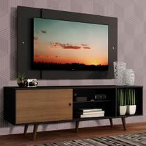 Rack Madesa Dubai com Pés e Painel para TV até 58 Polegadas - Preto/Rustic D8D8 -