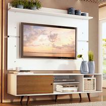 Rack Madesa Dubai e Painel para TV até 65 Polegadas com Pés - Branco/Rustic 9B9B -