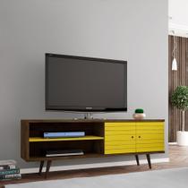 Rack Onix Madeira Rústica e Amarelo 160 cm - Bechara