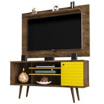 Rack Painel 136 Cm Para Tv Até 50 Pol Marrom E Amarelo - Bechara