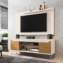 Rack + Painel De Tv 160 Cm Cor Off White Pés Metálicos - Bechara
