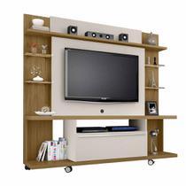 Rack Painel Home Para Tv 50 Pol Com Rodas Cor marrom e bege - Bechara
