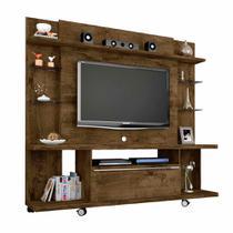 Rack Painel Home Para Tv 50 Pol Com Rodas Cor Rústico 180 Cm - Bechara