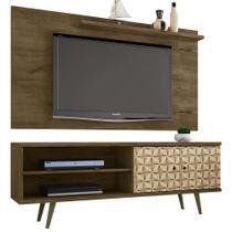 Rack Painel Tv Para Sala 160 Cm Com Pé Palito marrom rústico - Bechara