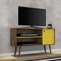 Rack para TV até 42 Polegadas 1 Porta Retrô Jade Móveis Bechara Madeira Rústica/Amarelo -