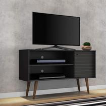 Rack para TV até 42 Polegadas 1 Porta Retrô Jade Móveis Bechara Preto -