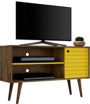 Rack para TV até 42 Polegadas com 1 Porta Jade Madeira Rústica / Amarelo - Bechara -