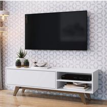 Rack para TV até 48 Polegadas 1 Porta Basculante e Pés de Madeira Estilare Branco/Madeirado -