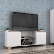 Rack para TV até 50 Polegadas 2 Portas 3 Prateleiras Benevello Quiditá Móveis Branco -