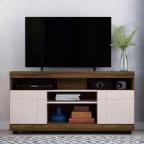 Rack para TV até 50 Polegadas 2 Portas 4 Nichos Yara Colibri Canela Rústico/Off White -
