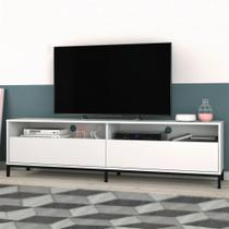 Rack Para Tv Até 50 Polegadas 2 Portas Br 53 Branco/metal Preto - Brv Moveis -