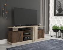 Rack para Tv Ate 50 Polegadas A 61 cm X L 157 cm X P 42,5 cm 2 Portas 4 Prateleiras Cristal Rustico/Cafe - Permóbili -