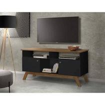 Rack para tv até 50 polegadas amsterdã com 2 portas preto/ madeira - Tebarrot