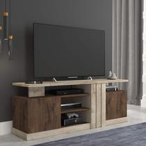 Rack para TV até 50 polegadas com Rodízios Esmeralda Siena Móveis Rústico/Café -