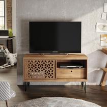 Rack para TV até 50 Polegadas Pés de Ferro com Gaveta Frizz Laser Líder Design Caemmun Buriti -