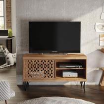 Rack para TV até 50 Polegadas Pés de Ferro Frizz Laser Líder Design Caemmun Buriti -
