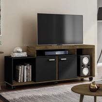 Rack para Tv até 52 Polegadas com Rodízios Bahamas Móveis Bechara Madeira Rústica/Preto Fosco -
