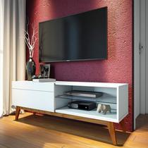 Rack para TV até 55 Polegadas 1 Gaveta Classic Retrô 52cmx146cm Imcal Branco Acetinado -