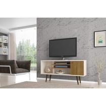 Rack para TV até 55 Polegadas 1 Porta Safira Móveis Bechara Off-White/Cinamomo -