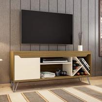 Rack para TV até 55 Polegadas 1 Prateleira 3 Nichos Kenzo Móveis Bechara Cinamomo/Off-White -