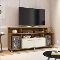 Rack Para TV até 55 Polegadas 2 Portas e Nichos New Centurini Móveis Bechara Cinamomo/Off-White -