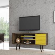 Rack para TV até 55 Polegadas com 1 Porta Safira Madeira / Amarelo - Bechara -
