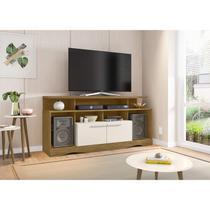 Rack para TV até 55 Polegadas com Rodízios 2 Portas e Nichos Centurini Tradicional Moderno Móveis Bechara Cinamomo/Off-White -