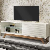 Rack Para Tv Até 55 Polegadas Malu 1 Porta 100% Mdf Off White/nobre - Pnr Móveis -