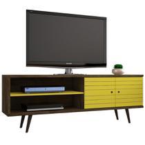 Rack para TV Até 60 Onix Rústico/Amarelo - Móveis bechara